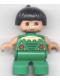 Minifig No: 6453pb015  Name: Duplo Figure, Child Type 2 Boy, Green Legs, Green Top, Black Hair (American Indian)