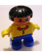 Minifig No: 6453pb016  Name: Duplo Figure, Child Type 2 Girl, Blue Legs, Yellow Top with Collar and 2 Buttons, Black Hair