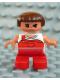 Minifig No: 6453pb021  Name: Duplo Figure, Child Type 2 Girl, Red Legs, White Top with Red Overalls with one Strap