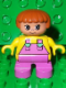 Minifig No: 6453pb022  Name: Duplo Figure, Child Type 2 Girl, Dark Pink Legs, Yellow Top with Dark Pink Overalls and Hearts on Straps