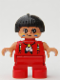 Minifig No: 6453pb031  Name: Duplo Figure, Child Type 2 Girl, Red Legs, Red Top with Feather Necklace, Black Hair with Feather (American Indian)