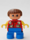 Minifig No: 6453pb039  Name: Duplo Figure, Child Type 2 Girl, Blue Legs, Red Torso With Flowers Pattern, Collar And 2 Buttons, Yellow Arms, Brown Hair