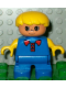 Minifig No: 6453pb043  Name: Duplo Figure, Child Type 2 Boy, Blue Legs, Blue Top, Yellow Arms, Yellow Hair