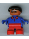Minifig No: 6453pb044  Name: Duplo Figure, Child Type 2 Boy, Red Legs, Blue Top with Red Collar, Black Hair, Glasses