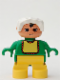 Minifig No: 6453pb045  Name: Duplo Figure, Child Type 2 Baby, Yellow Legs, Green Top with Yellow Bib with Red Lace, White Bonnet