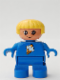 Minifig No: 6453pb047  Name: Duplo Figure, Child Type 2 Girl, Blue Legs, Blue Top with Ice Cream Pattern, Yellow Hair