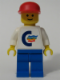 Minifig No: CL001  Name: Color Line - White Torso (Sticker) with White Arms, Blue Legs, Red Cap