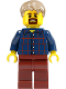 Minifig No: LLP003  Name: LEGOLAND Park Male, Dark Blue Plaid Button Shirt Pattern, Dark Tan Hair Short Tousled