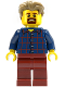 Minifig No: LLP003a  Name: LEGOLAND Park Male, Dark Blue Plaid Button Shirt Pattern, Dark Tan Hair with Slight Widow's Peak