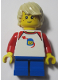 Minifig No: LLP008  Name: LEGOLAND Park Boy with Tan Hair, Shirt with Red Collar and Shoulders, Spaceship Orbiting Classic Space Helmet Pattern and Short Blue Legs