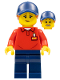 Minifig No: LLP011  Name: LEGOLAND Park Worker Female with Dark Blue Hat and Dark Orange Ponytail, Red Polo Shirt with 'LEGOLAND' on Back and Dark Blue Legs
