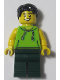 Minifig No: LLP014  Name: LEGOLAND Park Male with Black Hair, Lime Sleeveless Hoodie, Dark Green Legs