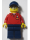 Minifig No: LLP016  Name: LEGOLAND Park Worker Male with Glasses, Dark Blue Hat, Red Polo Shirt with 'LEGOLAND' on Back and Dark Blue Legs