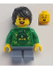 Minifig No: LLP017  Name: LEGOLAND Park Boy with Black Hair, Green Ninjago Hoodie, Sand Blue Short Legs