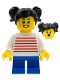 Minifig No: LLP018  Name: LEGOLAND Park Girl with Black Two Pigtails Hair, White Sweater with Red Horizontal Stripes, Blue Short Legs