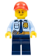Minifig No: LLP022  Name: LEGOLAND Park Police Officer with Shirt with Dark Blue Tie and Gold Badge, Dark Tan Belt with Radio, Dark Blue Legs, Red Cap, Lopsided Smile