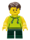 Minifig No: LLP023  Name: LEGOLAND Park Boy with Dark Brown Hair, Lime Sleeveless Hoodie, Dark Green Short Legs