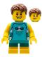 Minifig No: LLP025  Name: LEGOLAND Park Boy with Reddish Brown Hair, Medium Azure Sleeveless Jellyfish Shirt, Dark Turquoise Short Legs