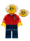 Minifig No: LLP026  Name: LEGOLAND Park Worker Older Female, Glasses, White Hair, Red Polo Shirt with 'LEGOLAND' on Back and Dark Blue Legs