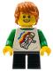 Minifig No: LLP029  Name: LEGOLAND Park Boy with Reddish Brown Hair, White and Green Spaceman Shirt, Black Short Legs