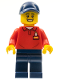 Minifig No: LLP030  Name: LEGOLAND Park Worker Male with Dark Blue Hat, Red Polo Shirt with 'LEGOLAND' on Back and Dark Blue Legs