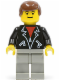 Minifig No: Shell011  Name: Leather Jacket with Zippers - Light Gray Legs, Brown Male Hair, Eyebrows