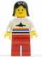 Minifig No: air011  Name: Airport - Classic, Red Legs, Black Female Hair