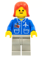 Minifig No: air016  Name: Airport - Blue, Light Gray Legs, Red Female Hair