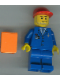 Minifig No: air023  Name: Airport - Blue 3 Button Jacket & Tie, Red Cap, Blue Legs, Orange Vest