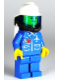 Minifig No: air025  Name: Airport - Blue, Blue Legs, White Fire Helmet, Breathing Hose, White Airtanks, Nose Freckles