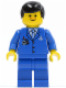 Minifig No: air028  Name: Airport - Blue 3 Button Jacket & Tie, Black Male Hair, Freckles