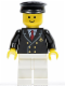 Minifig No: air029  Name: Airport - Pilot with Red Tie and 6 Buttons, White Legs, Black Hat, Standard Grin