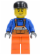 Minifig No: air033  Name: Overalls with Safety Stripe Orange, Orange Legs, Black Cap, Smirk and Stubble Beard