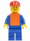 Minifig No: air034  Name: Airport - Blue 3 Button Jacket & Tie, Red Cap, Blue Legs, Orange Vest, Eyebrows