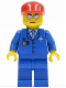 Minifig No: air036  Name: Airport - Blue 3 Button Jacket & Tie, Red Cap, Silver Sunglasses with Thin Smile