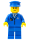 Minifig No: air046a  Name: Airport - Blue 3 Button Jacket and Tie, Blue Hat, Blue Legs, Black Eyebrows