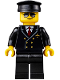 Minifig No: air055  Name: Airport - Pilot, Black Legs, Red Tie and 6 Buttons, Black Hat, Black and Silver Sunglasses
