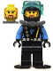 Minifig No: aqu025  Name: Aquaraider Diver 6 with Black Flippers