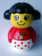 Minifig No: baby004  Name: Primo Figure Girl with White Base with Red Dots, Red Top with Crown Pattern, Black Hair