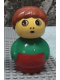 Minifig No: baby005  Name: Primo Figure Boy with Red Base, Green Top, Dark Orange Hair