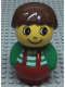 Minifig No: baby010  Name: Primo Figure Boy with Red Base, Green Top with Red Suspenders with White Stripes, Brown Hair