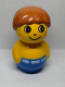 Minifig No: baby017  Name: Primo Figure Boy with Blue Base, Yellow Top, Dark Orange Hair