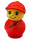 Minifig No: baby018  Name: Primo Figure Boy with Red Base, Red Top with Diagonal Zipper, Red Cap