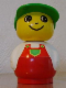 Minifig No: baby019  Name: Primo Figure Boy with Red Base, White Top with Red Overalls with Green Pocket, Green Cap