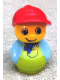 Minifig No: baby020  Name: Primo Figure Boy with Lime Base, Medium Blue Top with Lime Overalls with Blue Neckerchief, Red Cap