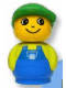 Minifig No: baby021  Name: Primo Figure Boy with Blue Base, Lime Top with Blue Overalls, Green Hat