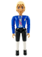 Minifig No: belvMale13  Name: Belville Male - White Shirt Blue Jacket with Purple Sash and Blue Bow, Black Breeches