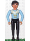 Minifig No: belvMale18  Name: Belville Male - Black Pants, Light Blue Shirt with White and Gold Fur Pattern on Shoulders and Gold Fastenings on Front, Black Hair