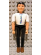 Minifig No: belvmale12  Name: Belville Male - Black Pants, White Shirt, Black Hair, Multicolored Tie