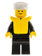 Minifig No: boat004  Name: Boat Admiral with Gold Anchor Pattern, Life Jacket